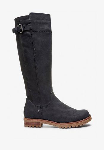 CHUNKY KNEE HIGH - Vysoká obuv - black