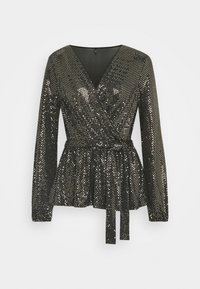 ONLY - ONLFURIOUS GLITTER WRAP - Blouse - black/gold - 0