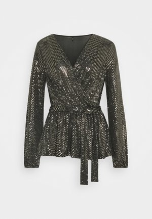 ONLFURIOUS GLITTER WRAP - Blouse - black/gold