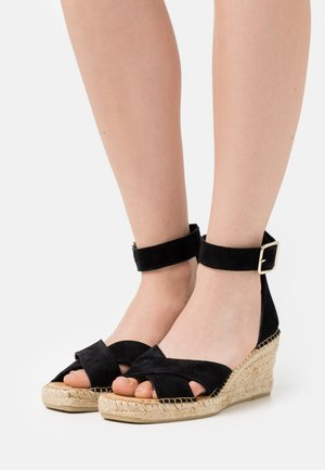 SLFESTHER WEDGE  - Platform sandals - black