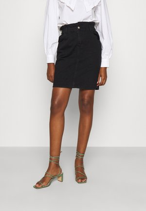 ONLOVA LIF BLACK  - Denim skirt - black