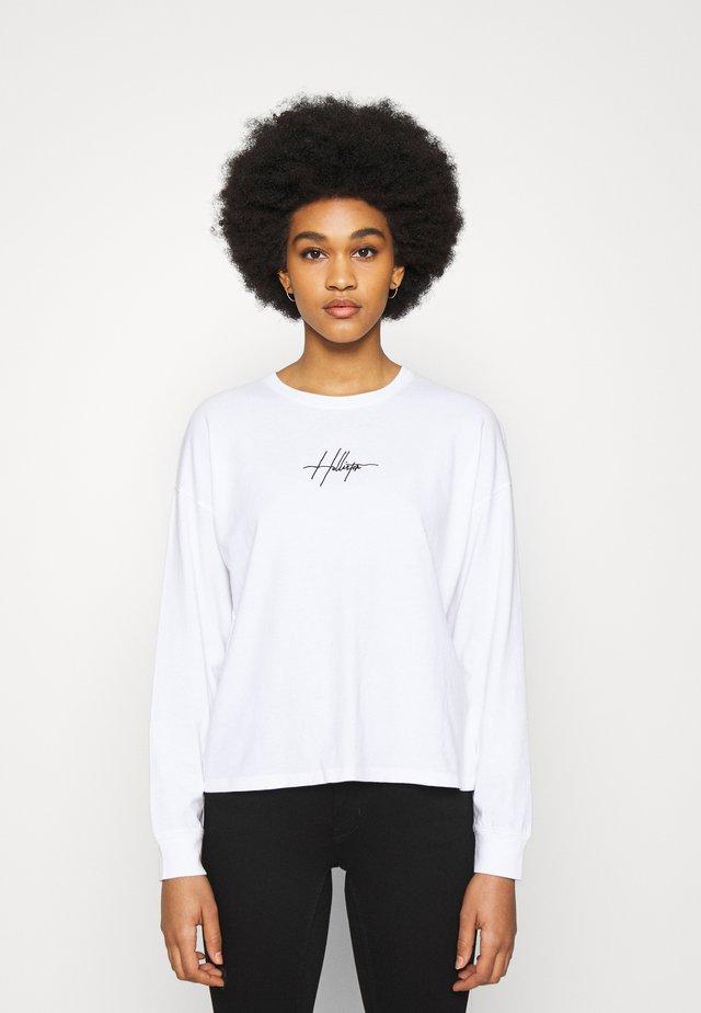 EMBROIDERED SCRIPT FONT - Maglietta a manica lunga - white