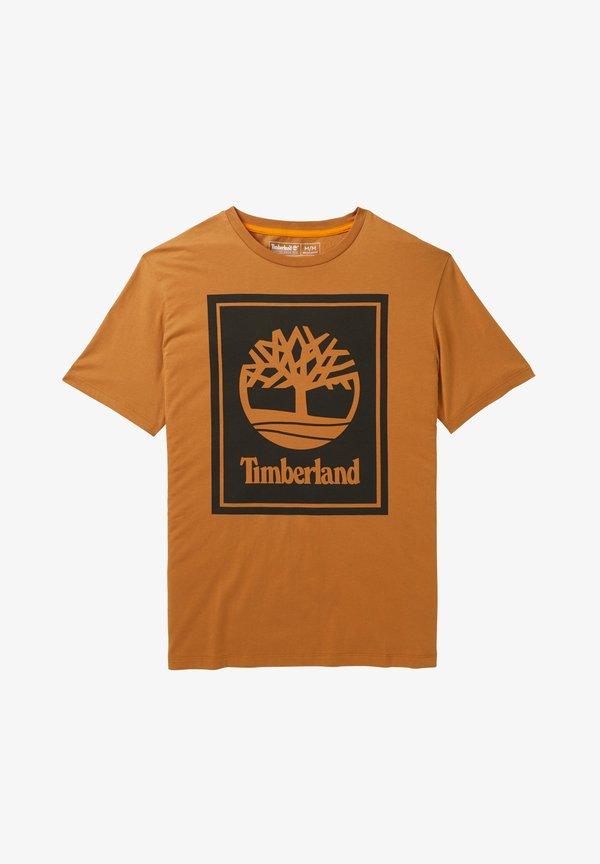 Timberland YC CORE+ SS STACK - T-shirt z nadrukiem - wheat boot-black/jasnobrązowy Odzież Męska QNXJ