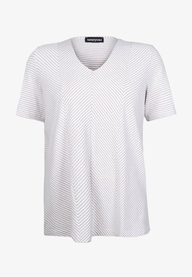 DIAGONALSTREIFEN - Print T-shirt - leinen