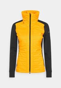 Kjus - WOMEN MUNDIN MIDLAYER JACKET - Fleecová bunda - black mel/gold honey yellow - 0