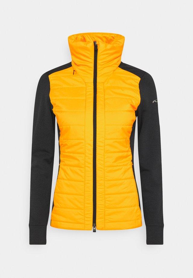 WOMEN MUNDIN MIDLAYER JACKET - Fleece jacket - black mel/gold honey yellow