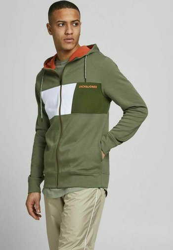 Zip-up sweatshirt - deep lichen green