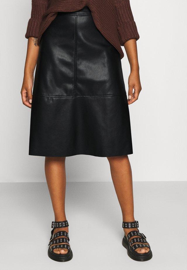 VINALIA COATED SKIRT - A-line skirt - black