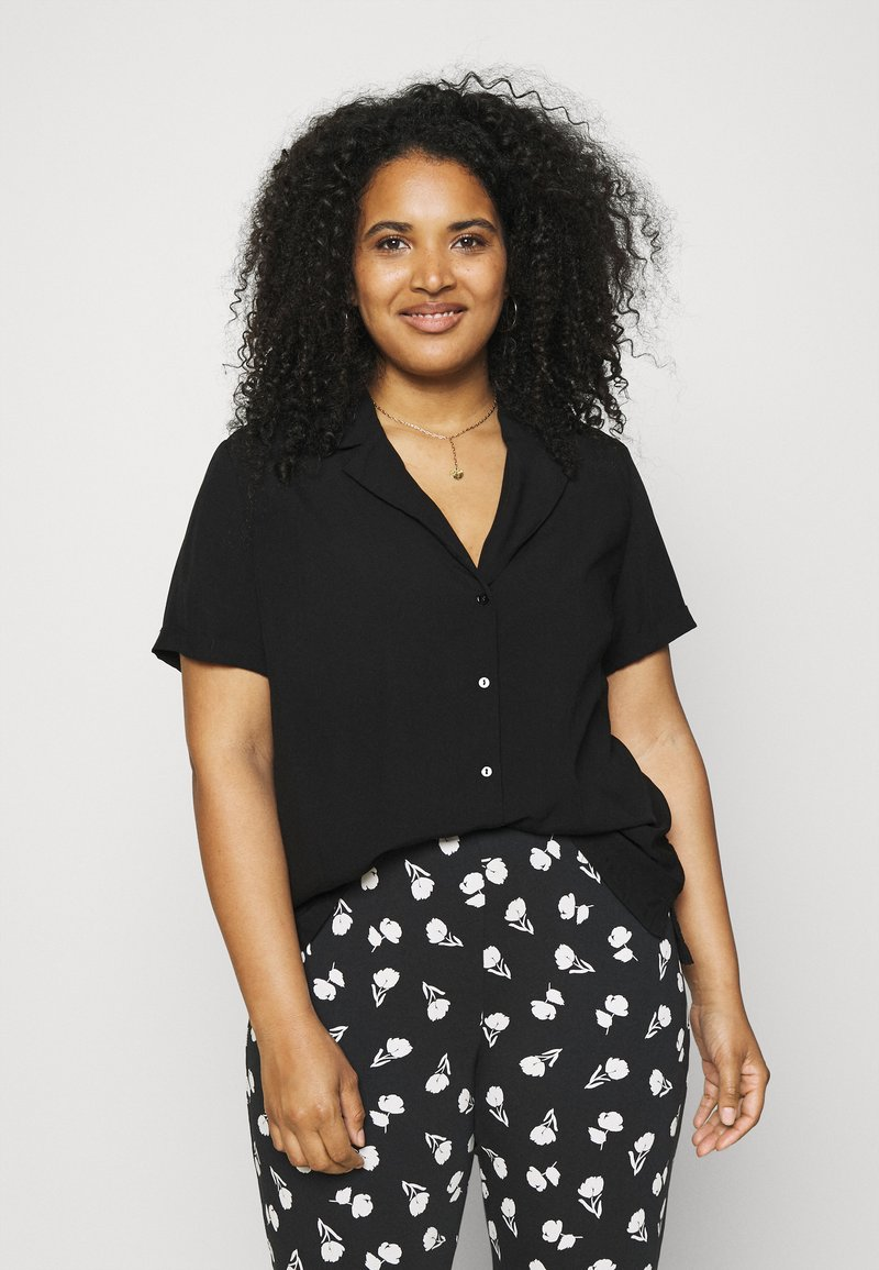 ONLY Carmakoma - CARVISTALA SHIRT SOLID - Button-down blouse - black