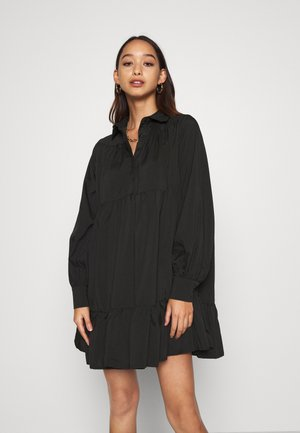 FRILL POPLIN DRESS - Korte jurk - black