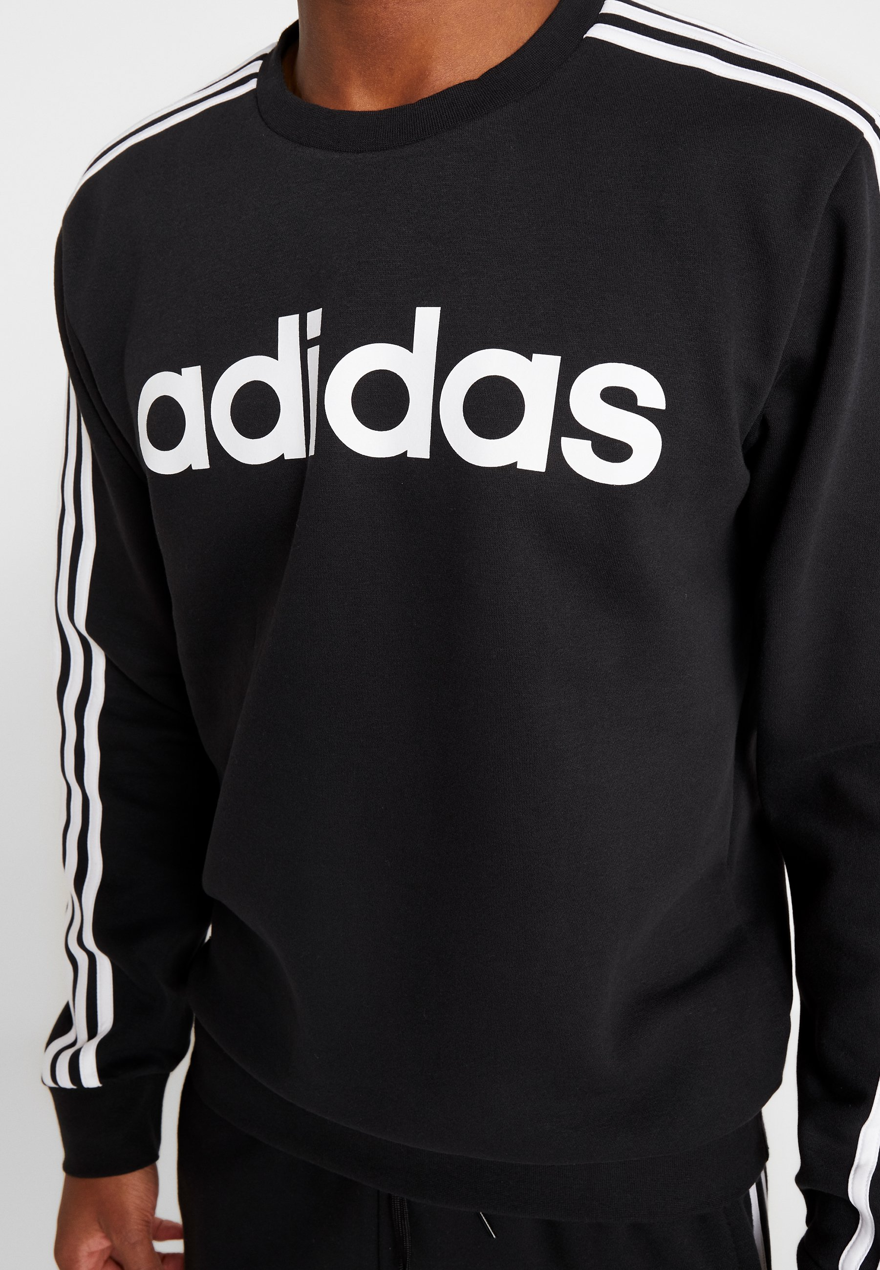 adidas Performance 3STRIPES SPORT LONG SLEEVE PULLOVER - Sweatshirt - black/white