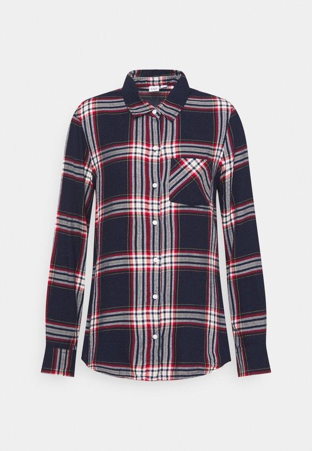 DRAPEY PLAID  - Button-down blouse - navy plaid