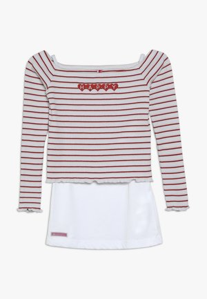 GIRLS RINGEL HAPPY 2-IN1 - Long sleeved top - weiss/rosa/rot