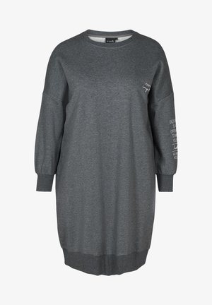 WITH ROUND NECK - Day dress - dark grey