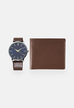 UHR GELDBÖRSE GESCHENK SET / WATCH WALLET GIFT SET - Klocka - dark brown
