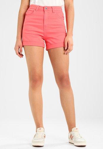 LADIES HIGHWAIST STRETCH - Denim shorts - coral