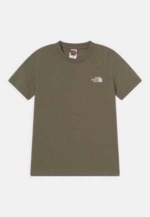 SIMPLE DOME TEE UNISEX - Basic T-shirt - burnt olive green/ white