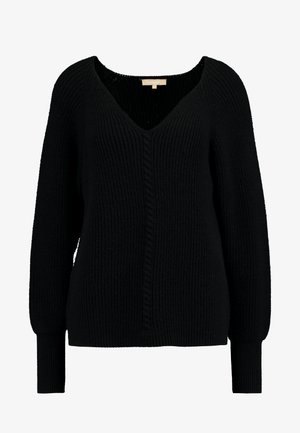 SRSANNE LONG V-NECK - Strikkegenser - black