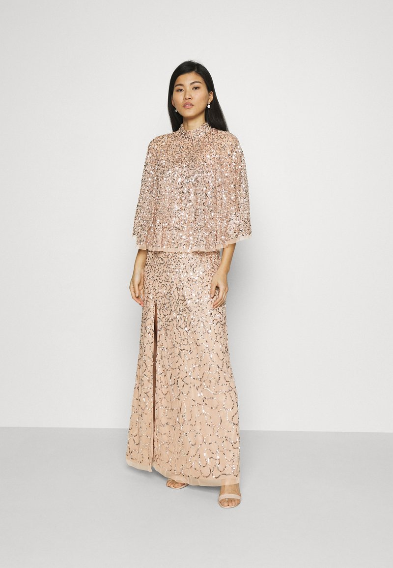 Maya Deluxe - DELICATE SEQUIN DRESS WITH DETACHABLE CAPE - Iltapuku - taupe blush
