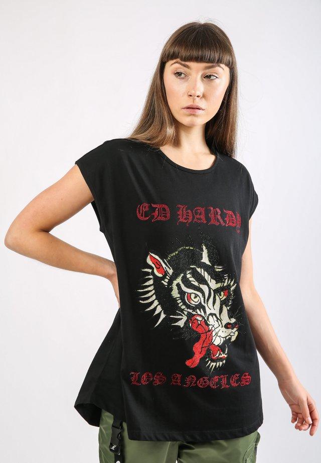LA-WOLF DIP HEM TEE - T-shirt print - black