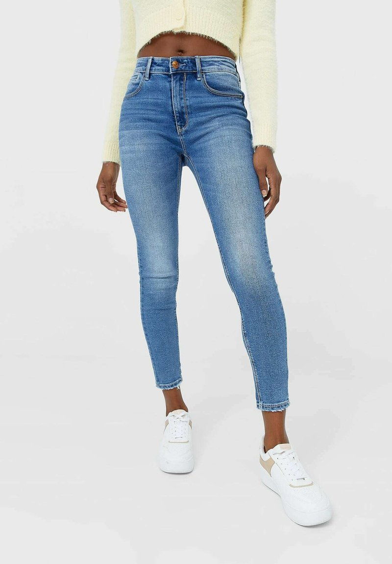 Stradivarius - Jeansy Skinny Fit - mottled light blue