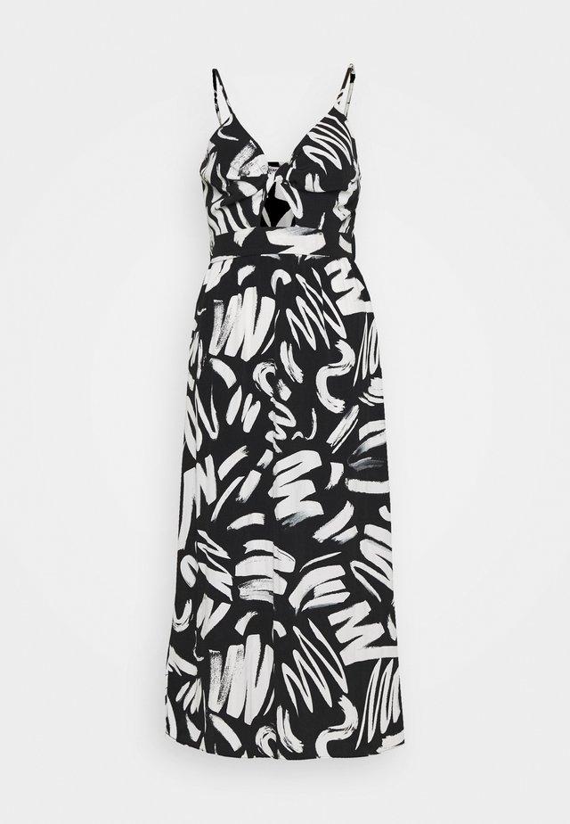 PRINTED TWIST FRONT DRESS - Vestito lungo - black
