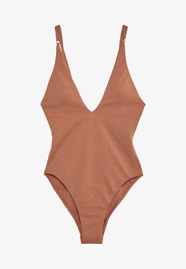 STARDUST DEEP V NECK MAILLOT - Swimsuit - bronze