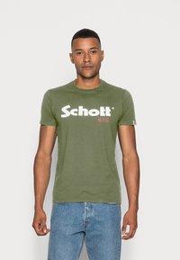 Schott - LOGO 2 PACK - Print T-shirt - khaki/bordeaux - 1