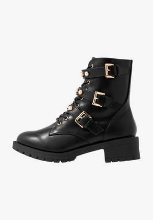 WIDE FIT BIAPEARL BIKER BOOT - Cowboy/biker ankle boot - black