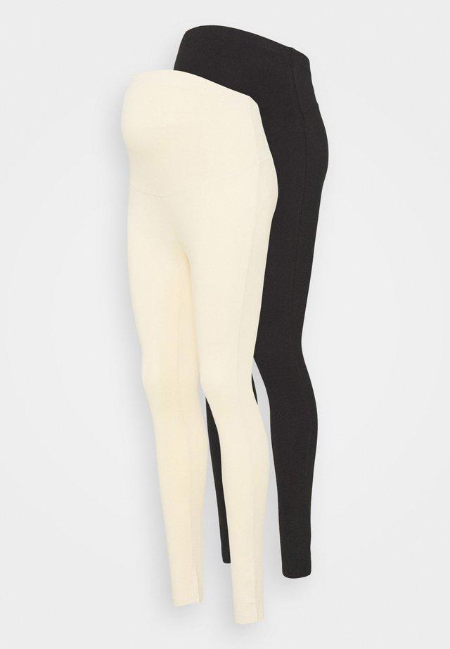 2 PACK - Leggings - Trousers - black/beige