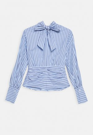 SPLIT FRONT TOP - Blouse - pool blue/white