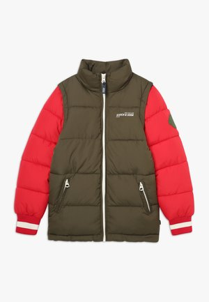 COLOUR BLOCK JACKET WITH DETACHABLE SLEEVES - Winter jacket - green/red