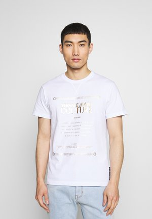 LOGO - T-shirt print - white/gold