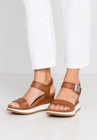 Felmini - KAREN - Platform sandals - cognac - 0