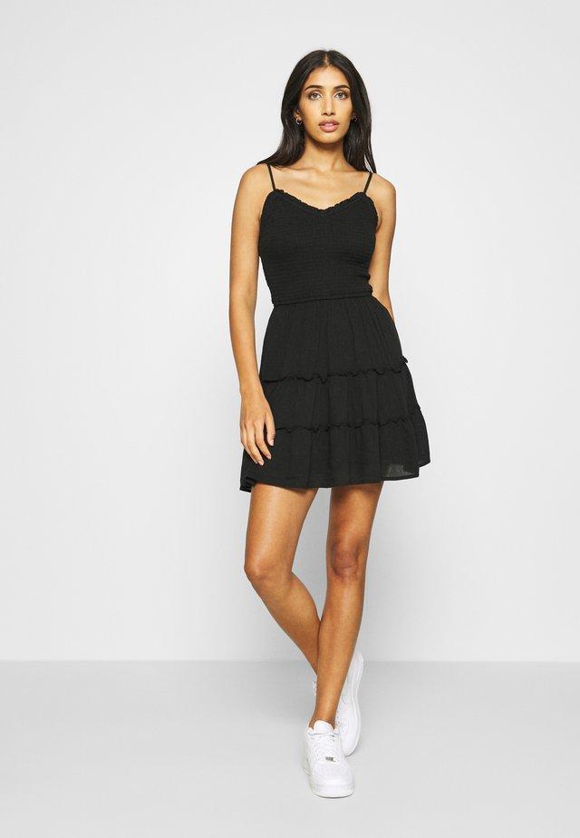 SMOCKED BODICE SHORT DRESS - Day dress - black