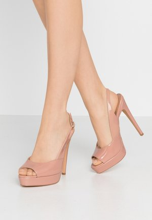 Høye hæler med åpen front - nude