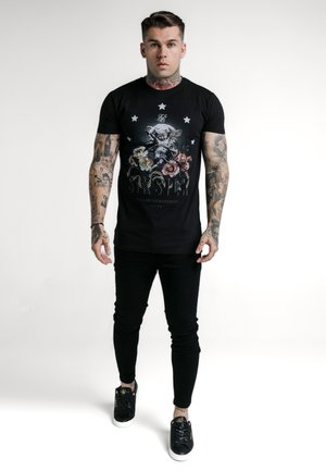 RHINESTONE CHERUB TEE - T-shirt z nadrukiem - black