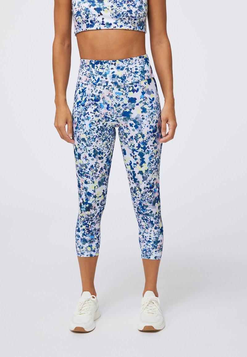 OYSHO - FLORAL PRINT CAPRI  - Leggings - blue