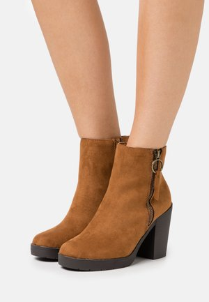 ABBY SIDE ZIP HEELED  - High heeled ankle boots - tan