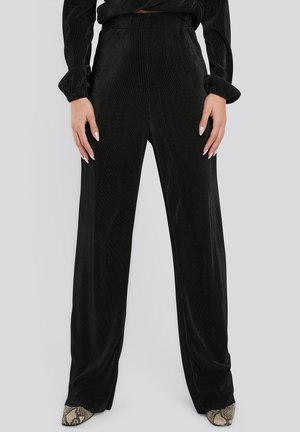 WIDE PLEATED - Trousers - black