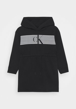 STRIPED HOOD DRESS - Korte jurk - black