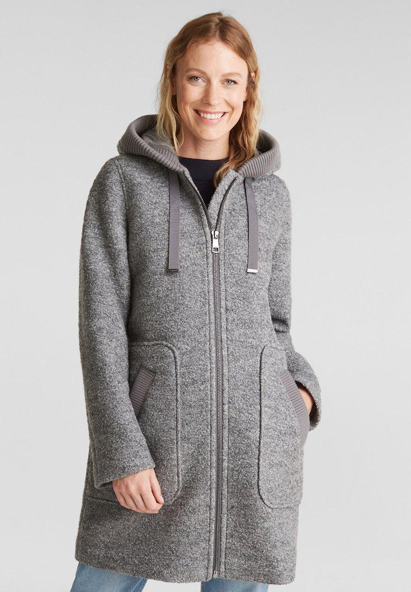 Esprit - MIT KAPUZE - Classic coat - gunmetal