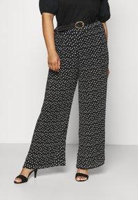 Simply Be - WIDE LEG PLISSE TROUSERS - Pantaloni - black - 0