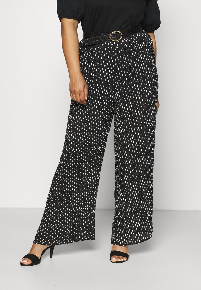 WIDE LEG PLISSE TROUSERS - Pantalones - black
