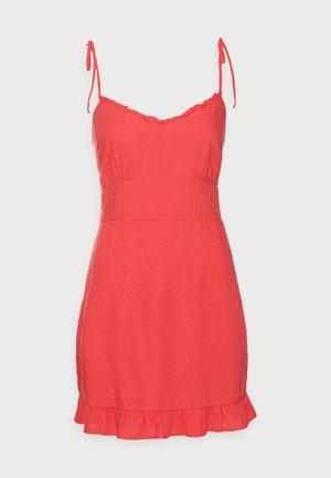 BARE TIE SHOULDER SLIM WAIST MINI - Vapaa-ajan mekko - red solid