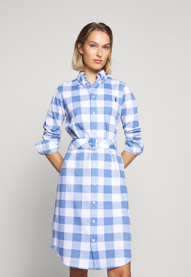 HEIDI LONG SLEEVE CASUAL DRESS - Košilové šaty - blue/white