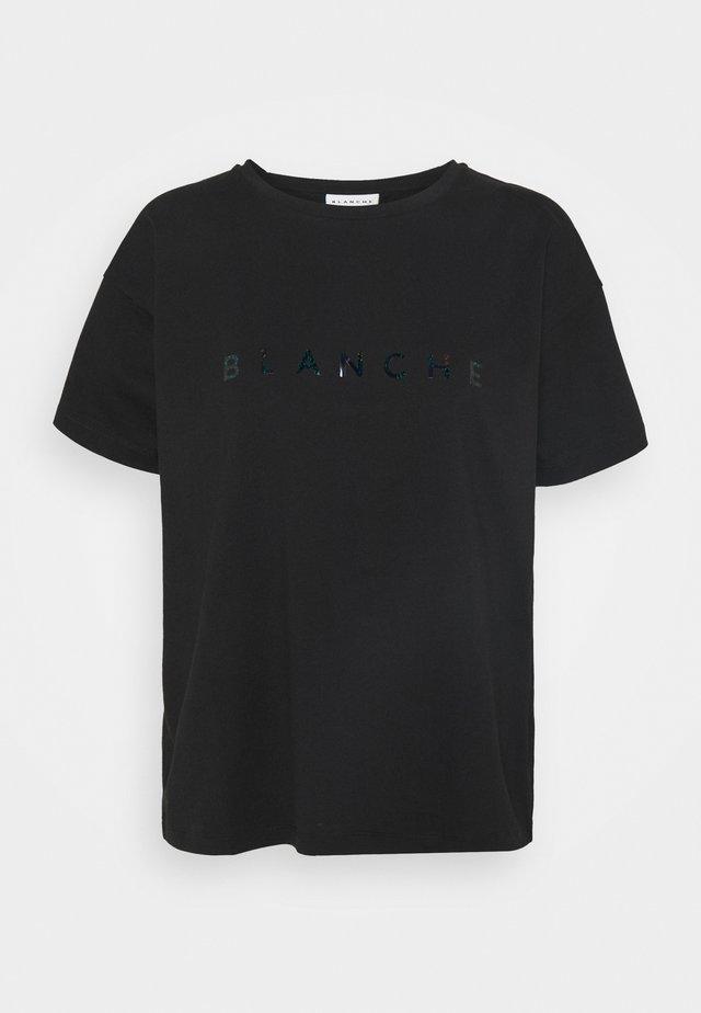 MAIN GLITTER - T-shirt imprimé - black