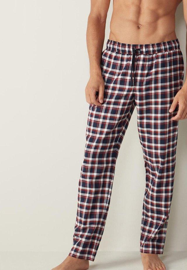 Pyjama bottoms - - 523i - white/blue tartan