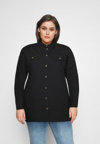 CAPSULE by Simply Be - LONGLINE  - Button-down blouse - black - 0