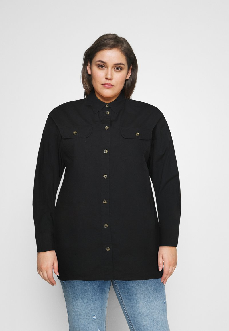 CAPSULE by Simply Be - LONGLINE  - Button-down blouse - black